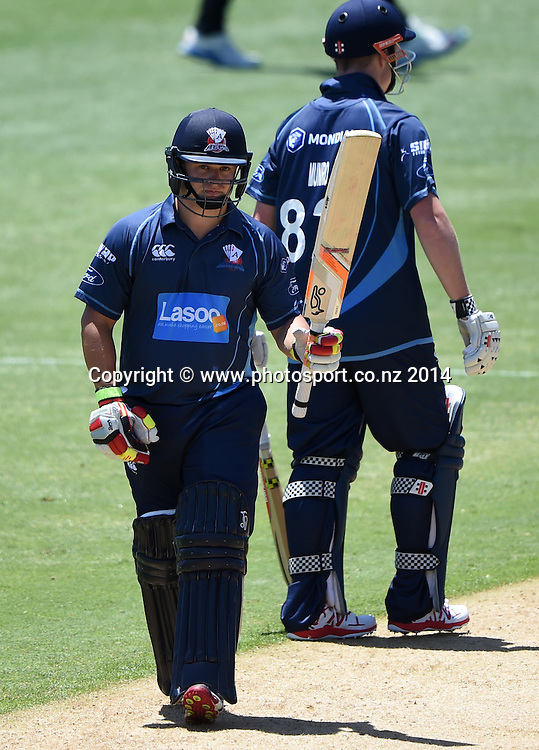 Auckland's Craig Cachopa celebrates his 50 during the Ford Trophy one day cricket match between Auckland Aces and Wellington Firebirds at the Eden Park Outer Oval, Auckland, New Zealand. Saturday 27 December 2014. Photo: Andrew Cornaga/www.Photosport.co.nz