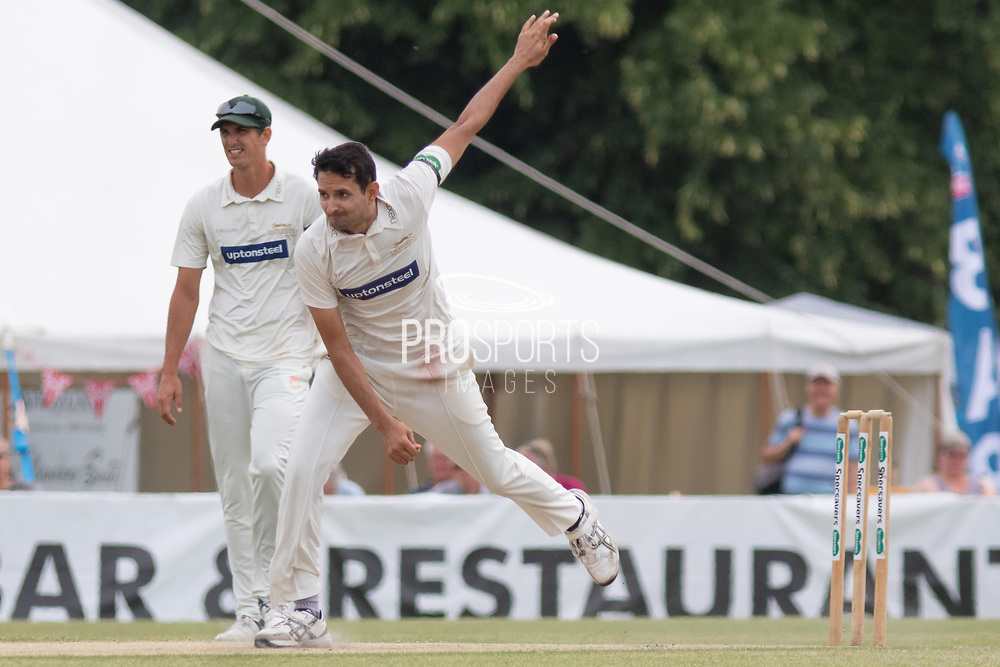Muhammad Abbas bowling during the Specsavers County Champ Div 2 match between Gloucestershire County Cricket Club and Leicestershire County Cricket Club at the Cheltenham College Ground, Cheltenham, United Kingdom on 17 July 2019.