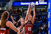 Ellie Bird of the Tactix gets a ball from Casey Kopua of the Magic during the ANZ Premiership Netball match, Tactix V Magic, Horncastle Arena, Christchurch, New Zealand, 6th June 2018.Copyright photo: John Davidson / www.photosport.nz