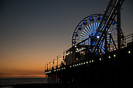 Photo Santa Monica Sunset wall art. Ferris Wheel, pier, ocean waves, orange sky. Matted print, Westside, Venice, Los Angeles, Southern California photography. Fine art photography limited edition.