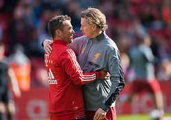 LIVERPOOL, ENGLAND - Saturday, March 24, 2018: Steve McManaman of Liverpool Legends with Lothar Matthaus of FC Bayern Legends before the LFC Foundation charity match between Liverpool FC Legends and FC Bayern Munich Legends at Anfield. (Pic by Peter Powell/Propaganda)