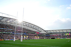 A general view of the Brighton Community Stadium as the teams line up prior to the match - Mandatory byline: Patrick Khachfe/JMP - 07966 386802 - 19/09/2015 - RUGBY UNION - Brighton Community Stadium - Brighton, England - South Africa v Japan - Rugby World Cup 2015 Pool B.