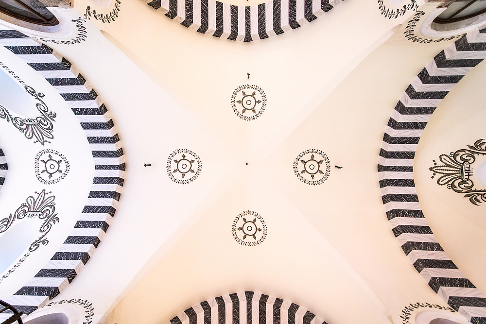 View from directly below of decorative ceiling of Istanbul Spice bazaar in Turkey.