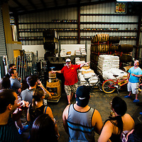 TAMPA, FL -- Bob Lorber leads a tour through the facilities at Cigar City Brewing in Tampa, Florida.  The thirty minute tour is only $5 and gives you a pint glass, some beer samples, and information how the FLorida brewer is growing dramatically.  (Photo / Chip Litherland)