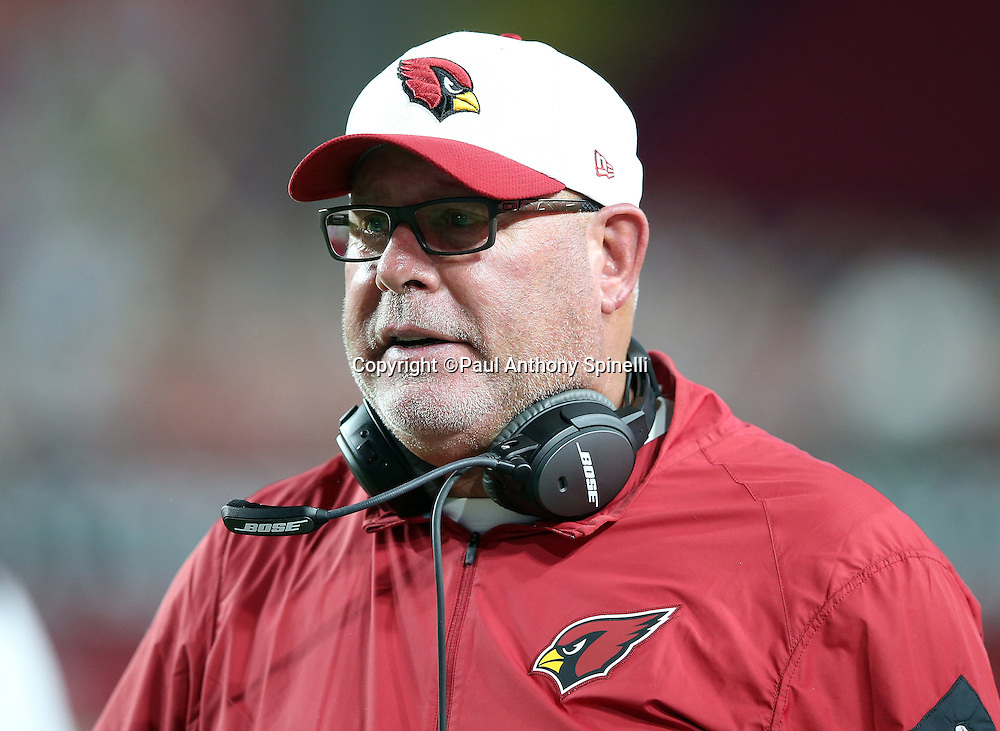 Arizona Cardinals head coach Bruce Arians looks on from the sideline during the 2015 NFL preseason football game against the San Diego Chargers on Saturday, Aug. 22, 2015 in Glendale, Ariz. The Chargers won the game 22-19. (©Paul Anthony Spinelli)