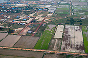 Aerial view of rice paddies, south of Siem Reap, Cambodia.