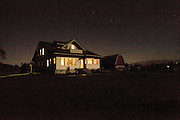 Skagit Valley Farm House at night.