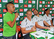 CAPE TOWN, SOUTH AFRICA - OCTOBER 15 2015, Carl Wastie (MC) with Kyle Brown, Frankie Horne and Justin Geduld during the Springbok 7's Try Dive competition at the University of Cape Town's Jameson Plaza for the Cape Town 7s taking place at Cape Town Stadium on12&amp;13 December 2015.<br /> Photo by Roger Sedres/ImageSA