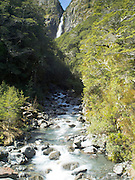 New Zealand's Devil's Punchbowl waterfall on a sunny day; Arthur's Pass National Park