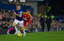 Lucas Digne of Everton (L) in action - Mandatory by-line: Jack Phillips/JMP - 23/11/2019 - FOOTBALL - Goodison Park - Liverpool, England - Everton v Norwich City - English Premier League
