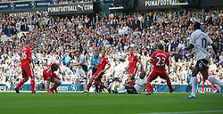 LONDON, ENGLAND - Sunday, September 18, 2011: Tottenham Hotspur's Luka Modric scores the first goal against Liverpool during the Premiership match at White Hart Lane. (Pic by David Rawcliffe/Propaganda)