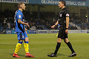 Gillingham defender Bradley Garmston (3) argues with referee Dean Whitestone during the EFL Sky Bet League 1 match between Gillingham and Wycombe Wanderers at the MEMS Priestfield Stadium, Gillingham, England on 15 December 2018.