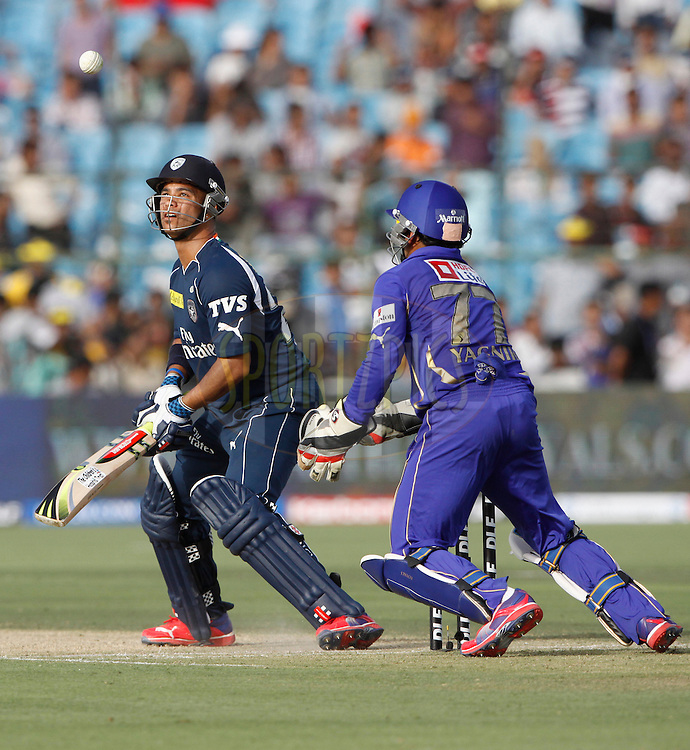 Deccan Chargers player JP Duminy play a shot during match 20 of the the Indian Premier League ( IPL) 2012  between The Rajasthan Royals and the Deccan Chargers held at the Sawai Mansingh Stadium in Jaipur on the 17th April 2012..Photo by Pankaj Nangia/IPL/SPORTZPICS