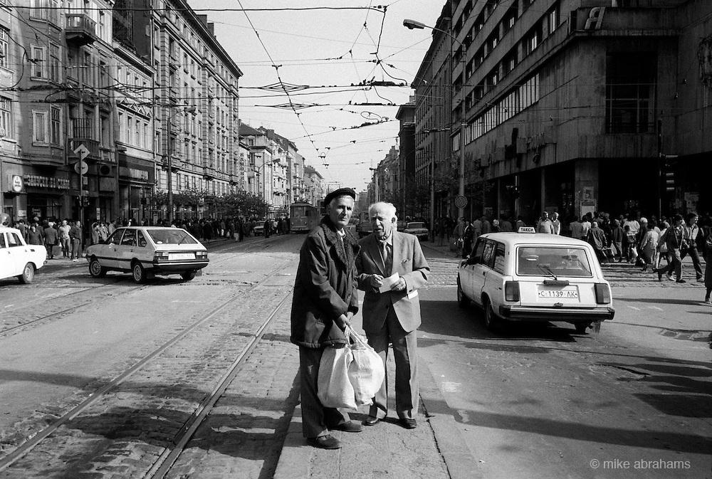 Waiting for a tram. Sophia, Bulgaria. April 1989