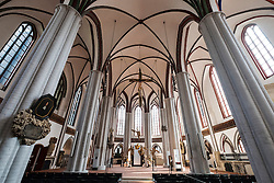 Interior view of Nikolai Church in Nikolaiviertel historic district in Mitte, Berlin, Germany