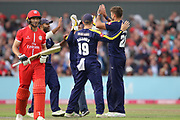 Lancashires Jos Buttler (Wicket Keeper) run out by Yorkshires Liam Plunkett during the Vitality T20 Blast North Group match between Lancashire County Cricket Club and Yorkshire County Cricket Club at the Emirates, Old Trafford, Manchester, United Kingdom on 20 July 2018. Picture by George Franks.
