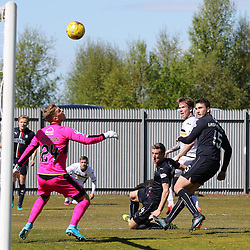 Robbie Thomson can only watch Robert Thomsons shot hit the bar  during the Dumbarton v Falkirk Scottish Championship 06 May 2017<br /> <br /> <br /> <br /> <br /> <br /> (c) Andy Scott | SportPix.org.uk