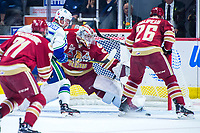 REGINA, SK - MAY 19: Evan Fitzpatrick #31 of Acadie-Bathurst Titan defend the net against the Swift Current Broncos at the Brandt Centre on May 19, 2018 in Regina, Canada. (Photo by Marissa Baecker/CHL Images)