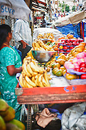 A local market stall in Bangalore, India. Located off the Old Airport road, many vendors can be found selling fruit and foods.