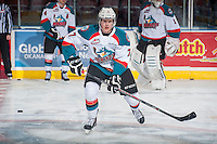 KELOWNA, CANADA - JANUARY 7: Lucas Johansen #7 of Kelowna Rockets warms up against the Vancouver Giants on January 7, 2015 at Prospera Place in Kelowna, British Columbia, Canada.  (Photo by Marissa Baecker/Shoot the Breeze)  *** Local Caption *** Lucas Johansen;
