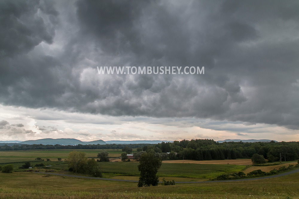 Chester, New York - Storm clouds above a farm field on Aug. 11, 2015.