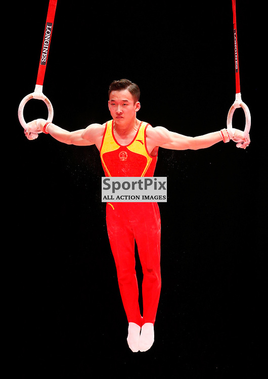 2015 Artistic Gymnastics World Championships being held in Glasgow from 23rd October to 1st November 2015.....Ruoteng Xiao (Peoples Republic of China) competing in the Still Rings competition..(c) STEPHEN LAWSON   SportPix.org.uk