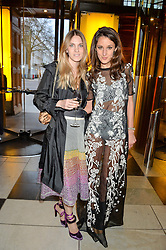 """Left to right, GEORGIE MACINTYRE and ROSANNA FALCONER at a private view of Undressed: A Brief History Of Underwear"""" at the V&A, London on 13th April 2016."""
