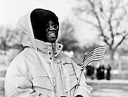 Ricci Moore of Detroit, MI on the National Mall in Washington, D.C., waiting for the inauguration of Barack Obama on January 20, 2009.