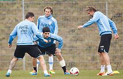 04.03.2014, Woerthersee Arena, Klagenfurt, AUT, FIFA WM, Vorbereitung, Training Uruguay, im Bild Luis Suarez (Uruguay), Diego Perez (Uruguay), Diego Forlan (Uruguay) // Luis Suarez (Uruguay), Diego Perez (Uruguay), Diego Forlan (Uruguay during a Trainingsession of the National Football Team of Uruguay at the Woerthersee Arena, Klagenfurt, Austria on 2013/03/04. EXPA Pictures © 2014, PhotoCredit: EXPA/ JFK