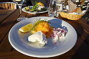 Skillinge harbour. The Hamnkrog (short: Krog) restaurant. Sik (Baltic Whitefish) Roe.