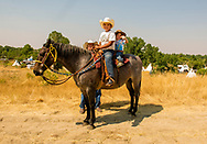 Henry Real Bird, grandsons, Crow Fair, Montana, horse