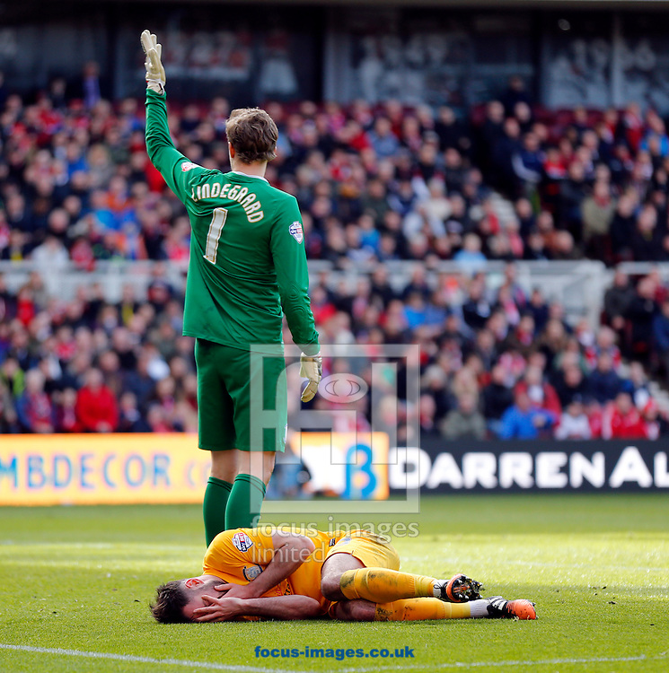 Greg Cunningham (on floor) of Preston North End hold his face during the Sky Bet Championship match at the Riverside Stadium, Middlesbrough<br /> Picture by Simon Moore/Focus Images Ltd 07807 671782<br /> 09/04/2016