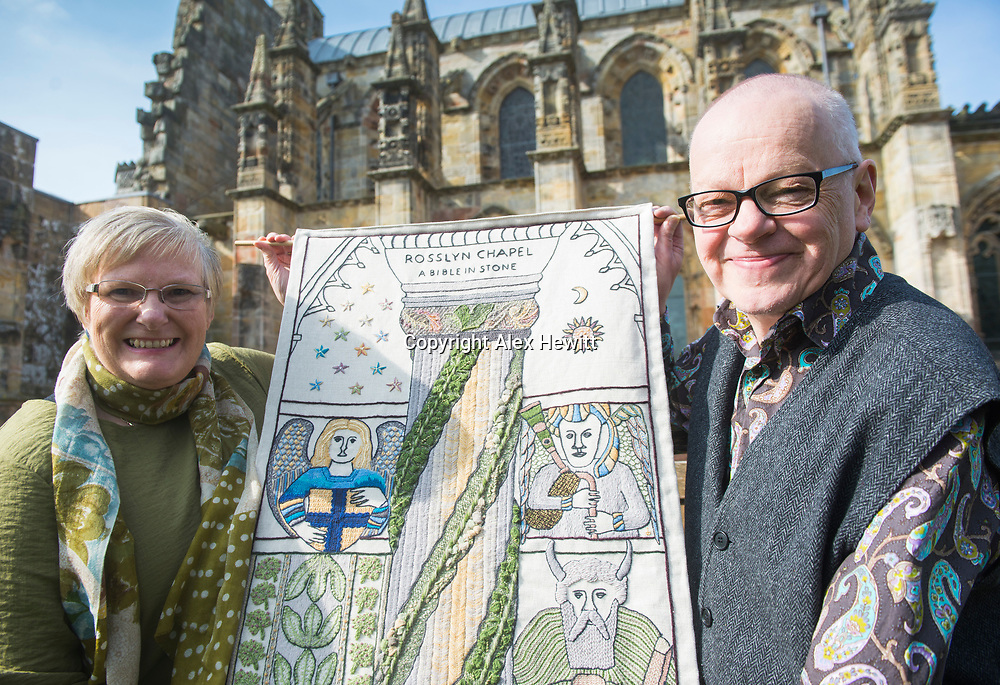 FREE PICTURE FOR GREAT TAPESTRY OF SCOTLAND PUBLICITY. TO ACCOMPANY PRESS RELEASE.<br /> <br /> The Roslin stitching group of the Great Tapestry of Scotland showcase the replacement for the Rosslyn chapel panel that was stolen in September 2015<br /> <br /> Fiona Mcintosh (Lead stitcher), Andrew Crummy (Artist)<br /> <br /> picture by Alex Hewitt<br /> alex.hewitt@gmail.com<br /> 07789 871 540