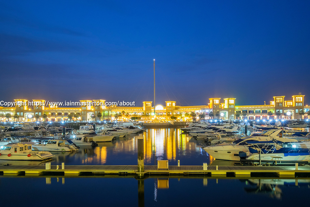 Souq Sharq shopping mall and marina at night in Kuwait City Kuwait