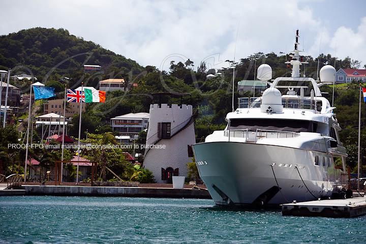 Megayachts docked at Port Louis Marina