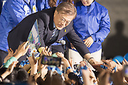 South Korea's presidential front-runner Moon Jae-In of Democratic Party of Korea (DPK), attends a campaign in central Seoul, South Korea, May 8, 2017. South Korea's presidential election will be held on May 9, 2017. Photo by Lee Jae-Won (SOUTH KOREA) www.leejaewonpix.com