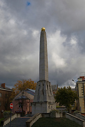 Victory Monument in Cesis, Latvia - this monument, originally placed before the Soviet occupation, was replaced by a statue of Lenin.  After 1991, the statue of Lenin was toppled and the Victory Monument was restored.