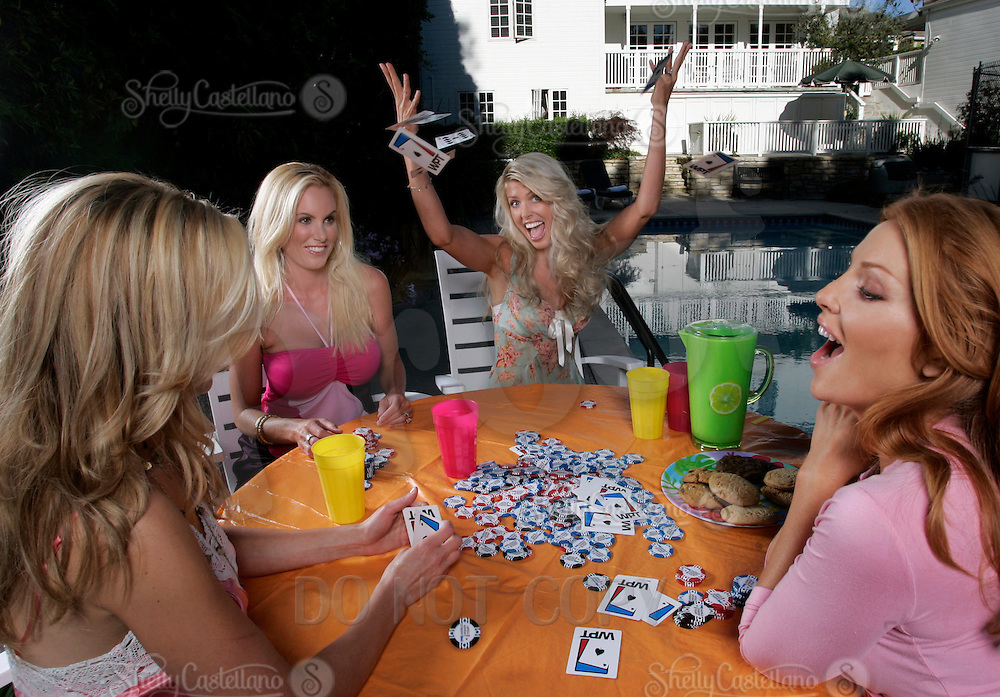 22 June 2005:  Dina Arnott, Stacia Raystone-Robitaille, Angelica Bridges and Brandi Blake play poker in the afternoon at Beverly Hills during The Not so Desperate, Desperate housewives shoot on location in Los Angeles with NHL hockey players wives for Editorial Use Only!  Mandatory Credit:  Shelly Castellano.com or Price Doubles. .