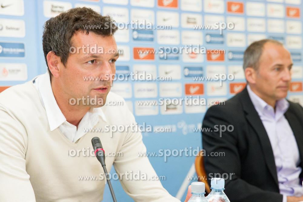 Mladen Dabanovic of NK Celje and Darko Milanic of NK Maribor at press conference before final match of Slovenian Cup 2013 on May 27, 2013 in Hotel Kokra, Brdo pri Kranju, Slovenia. (Photo By Vid Ponikvar / Sportida)