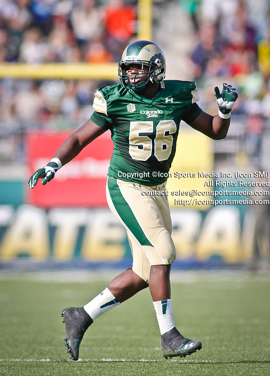 SHOT 10/12/13 2:42:18 PM - Colorado State's Shaquil Barrett #56 drops back into coverage against San Jose State during their regular season Mountain West game at Hughes Stadium in Fort Collins, Co. San Jose State won the game 34-27. (Photo by Marc Piscotty / © 2013)