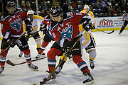 KELOWNA, CANADA - DECEMBER 03:  Nick Merkley #10 of the Kelowna Rockets, Rodney Southam #17 of the Kelowna Rockets and Rylan Bettens #15 of the Brandon Wheat Kings at the Kelowna Rockets game on December 03, 2016 at Prospera Place in Kelowna, British Columbia, Canada.  (Photo By Cindy Rogers/Nyasa Photography,  *** Local Caption ***