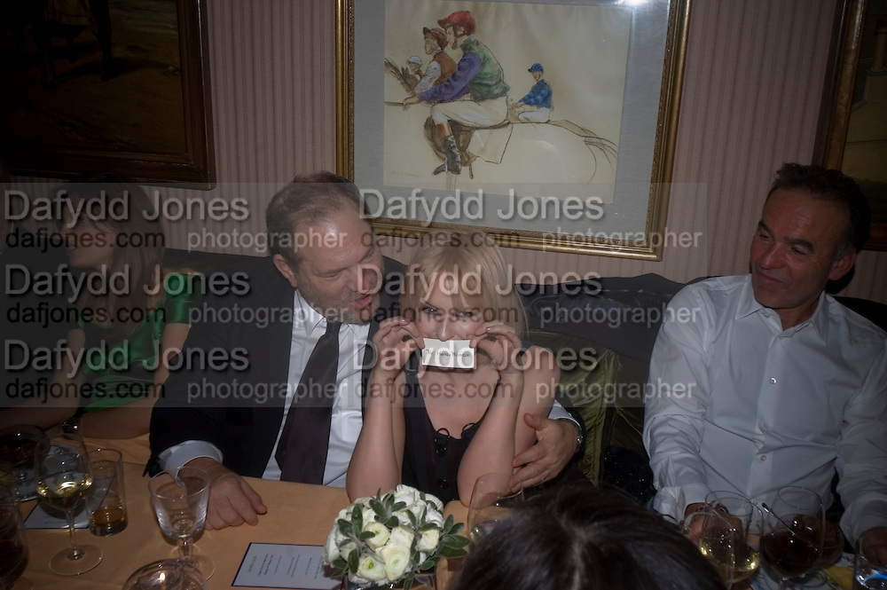 JEMIMA KHAN, HARVEY WEINSTEIN AND KYLIE MINOGUE, Pre Bafta dinner hosted by Charles Finch and Chanel. Mark's Club. Charles St. London. 9 February 2008.  *** Local Caption *** -DO NOT ARCHIVE-© Copyright Photograph by Dafydd Jones. 248 Clapham Rd. London SW9 0PZ. Tel 0207 820 0771. www.dafjones.com.