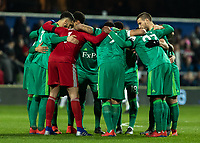 Football - 2018 / 2019 Emirates FA Cup - Fifth Round: Queens Park Rangers vs. Watford<br /> <br /> Watford players in a huddle before kick off at Loftus Road<br /> <br /> COLORSPORT/DANIEL BEARHAM