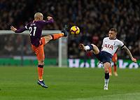 Football - 2018 / 2019 Premier League - Tottenham Hotspur vs. Manchester City<br /> <br /> High feet from David Silva (Manchester City) and Kieran Trippier (Tottenham FC) at Wembley Stadium.<br /> <br /> COLORSPORT/DANIEL BEARHAM