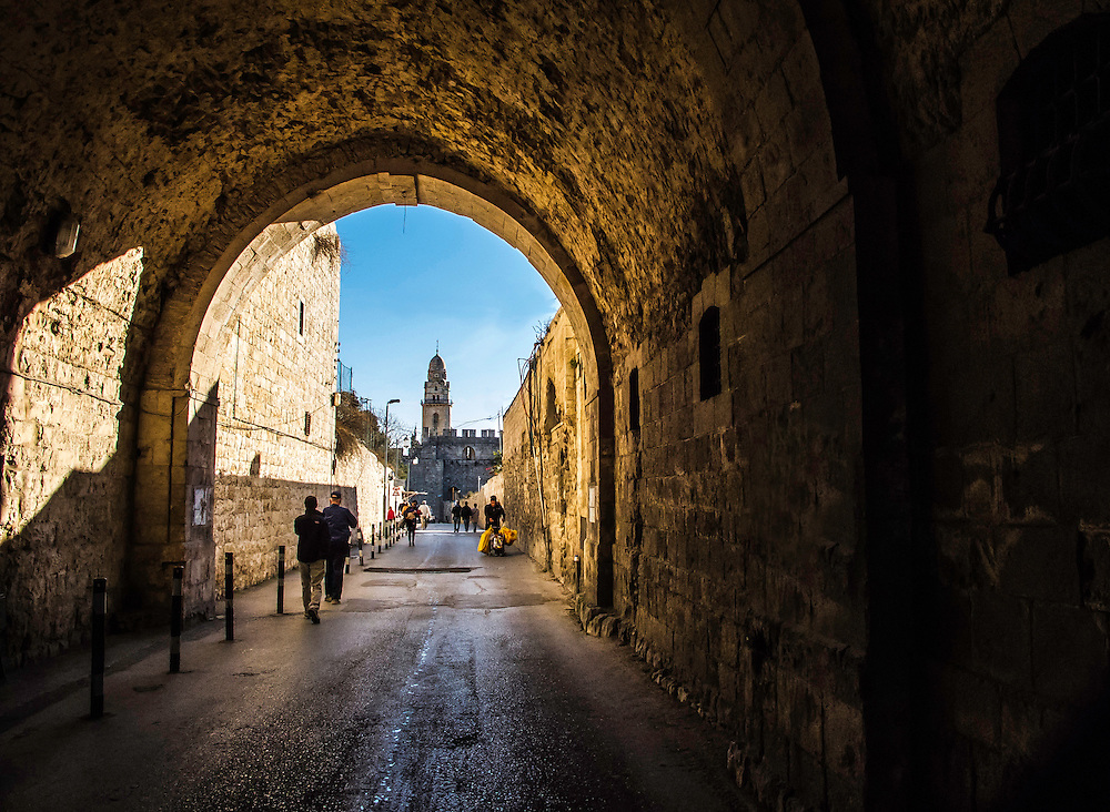 One of the many alleys in the old section of Jerusalem, Israel.