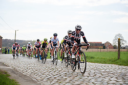 Liane Lippert (GER) leads the peloton across the cobbles at Brabantse Pijl 2018, a 136.8 km road race starting and finishing in Gooik on April 11, 2018. Photo by Sean Robinson/Velofocus.com