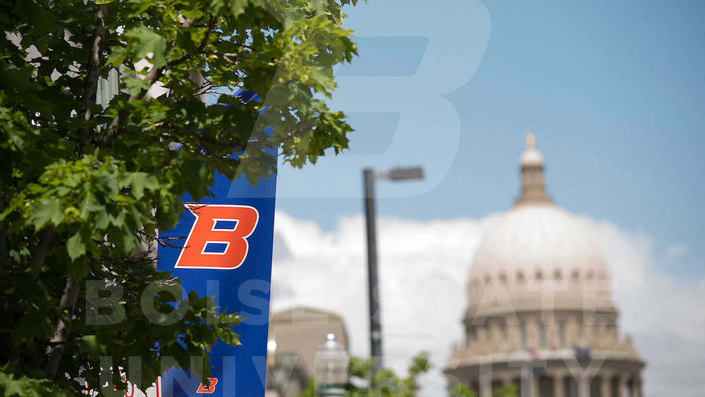 Boise, B banners downtown, capitol, John Kelly photo