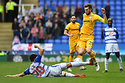 Reading defender Almeida Tiago Llori (20) challenges Preston North End striker Tom Barkhuizen (29) during the EFL Sky Bet Championship match between Reading and Preston North End at the Madejski Stadium, Reading, England on 7 April 2018. Picture by Alistair Wilson.