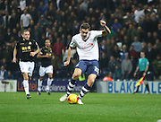 Jordan Hugill strikes during the Sky Bet Championship match between Preston North End and Bolton Wanderers at Deepdale, Preston, England on 31 October 2015. Photo by Pete Burns.