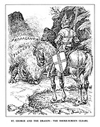 St. George and the Dragon: The Smoke-Screen Clears. (England stands calm as the approaching dragon of 'Nazi Aggression' blows the fires of 'Propaganda' and 'Pledges')